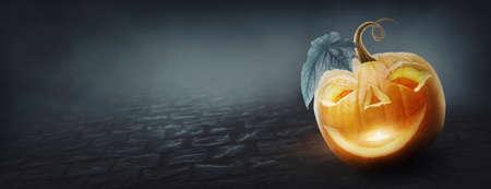 Halloween banner with a pumpkin Standard-Bild - 155839646