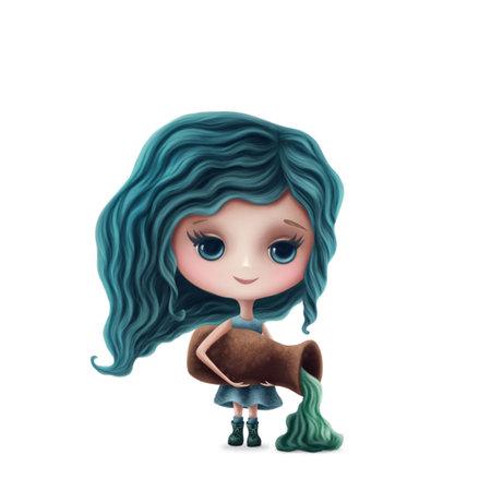 Illustration of Aquarius girl isolated on a white background Standard-Bild