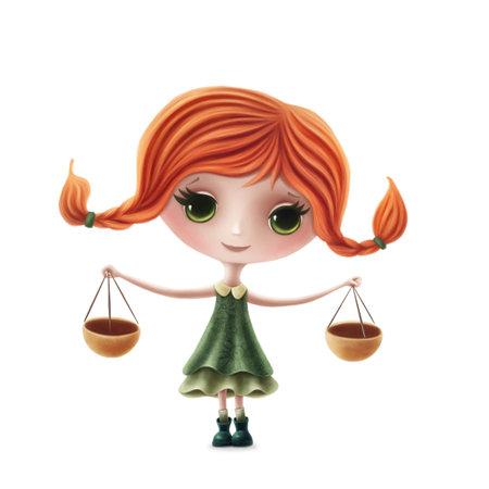 Illustration of Libra girl isolated on a white background Standard-Bild