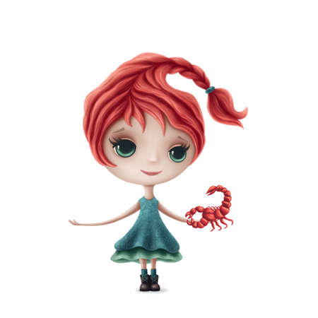 Illustration of Scorpio girl isolated on a white background