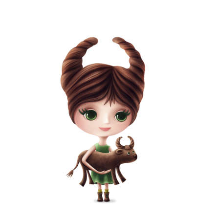 Illustration of Taurus girl isolated on a white background
