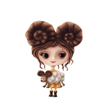 Illustration of Aries girl isolated on a white background