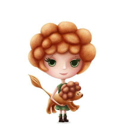 Illustration of Leo girl isolated on a white background Standard-Bild - 161378748