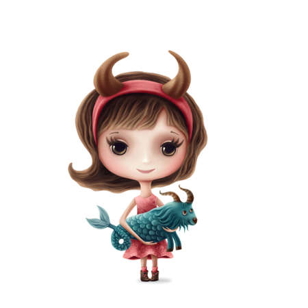 Illustration of Capricorn girl isolated on a white background