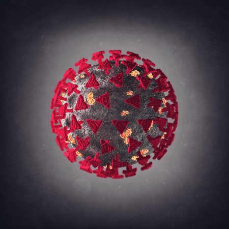 Coronavirus with red spikes on a gray backgound Standard-Bild