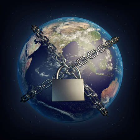 Planet Earth locked with chain. Lockdown concept. 3D illustration.