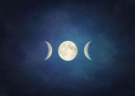 Triple moon symbol. Pagan and Wiccan symbol Standard-Bild
