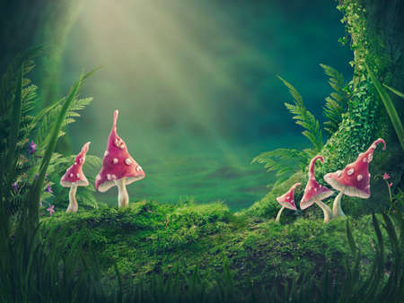 Magic forest background. With copy space.