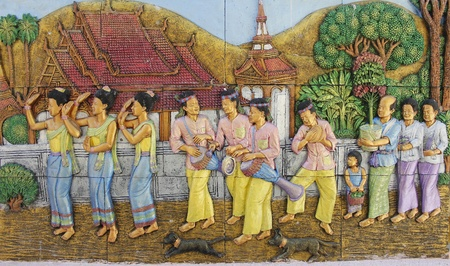 low relief: Low relief cement Thai style,Traditional Thailand and Lifestyle. Editorial
