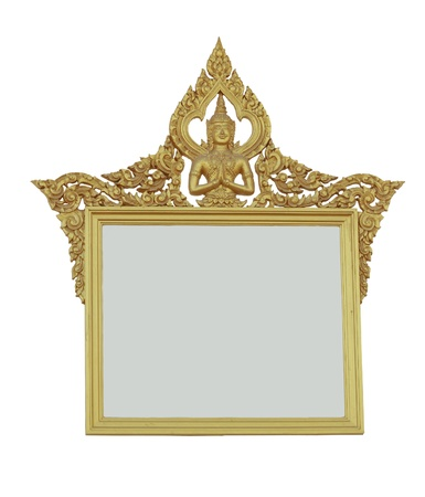 Thai style frame isolated on white W  PATH. photo