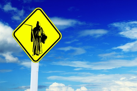 concomitant: Road sign with Messenger of death , blue sky