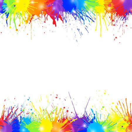 Heller bunter Hintergrund mit Rainbow farbigen Spritzer Farbe und Raum für Text. Nahtlose Ränder. Vektor-Illustration.