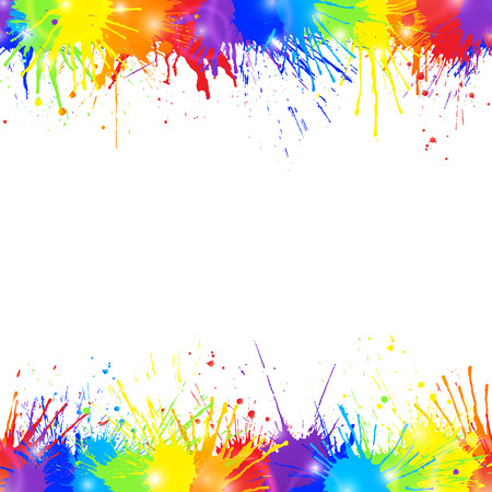 Bright colorful background with rainbow colored paint splashes and space for text. Seamless borders. Vector illustration.