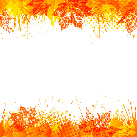 Bright autumn background. Seamless borders with vivid paint splashes and maple leaves. Vector illustration. Illustration
