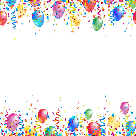 Bright seamless celebration borders with colorful balloons, ribbons and confetti. Vector illustration.