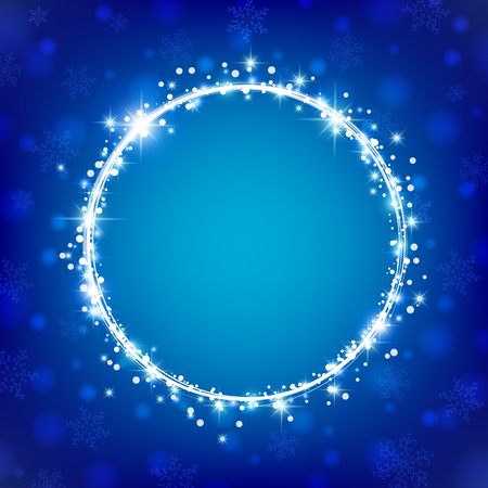 Beautiful winter night background with stars, snowflakes and round space for text. Vector illustration. Illustration