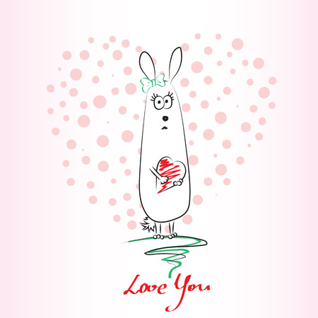 bunny girl: Cute hand drawn bunny girl with heart. Vector illustration. Illustration