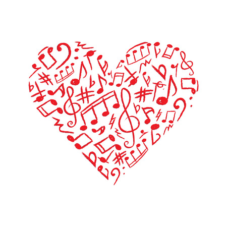 Red heart made of musical signs on white background. Vector illustration.