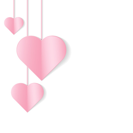 Romantic background with hanging pink hearts. Vector illustration. Illustration