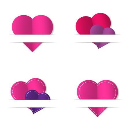 paper cut: Paper cut hearts set. Vector illustration.