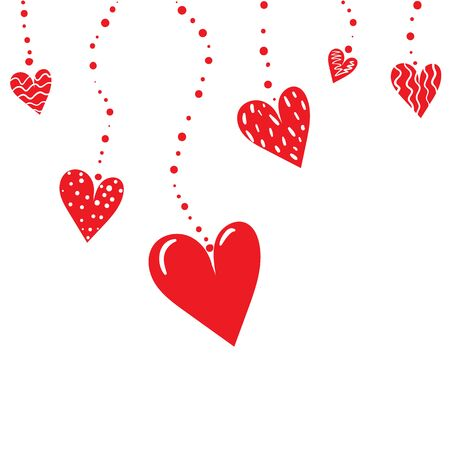 Romantic background with hanging red hearts. Vector illustration. Illustration