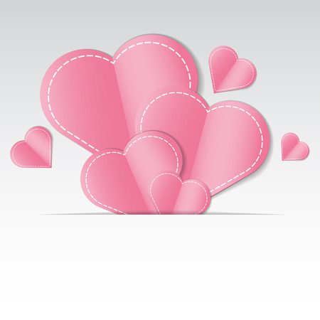 pink wallpaper: Romantic background with paper cut hearts and space for text.  Vector illustration. Illustration