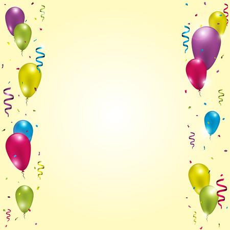 ballons colorés avec des rubans et des confettis sur fond d'or. Vector illustration.