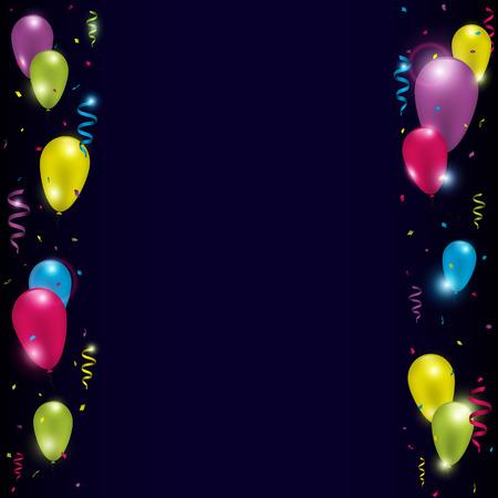 Coloridos globos con cintas y confeti sobre fondo oscuro. Ilustración vectorial