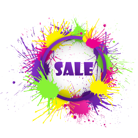 Sale banner with colorful paint splashes. Vector illustration.