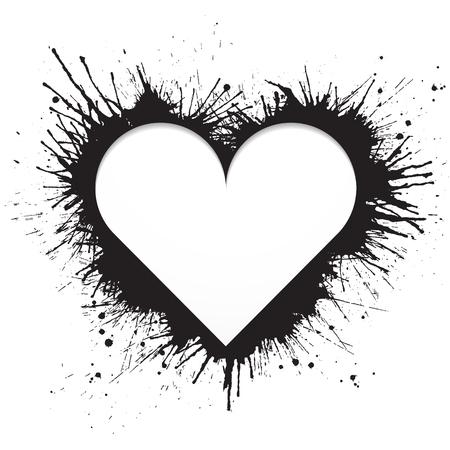 Heart shaped frame made of black paint splashes on white background  Vector illustration. Illustration