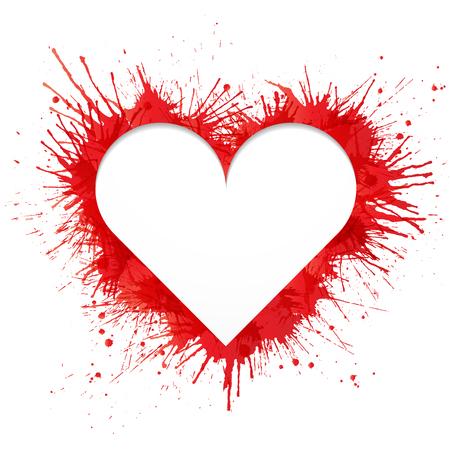 Heart shaped frame made of red paint splashes on white background  Vector illustration.