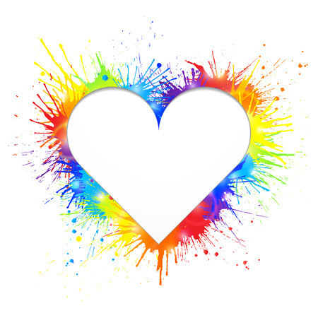 Heart shaped white cutout for text in rainbow paint splashes background.  Vector illustration.