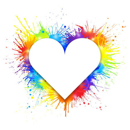 Heart shaped white banner on rainbow paint splashes background. Vector illustration.