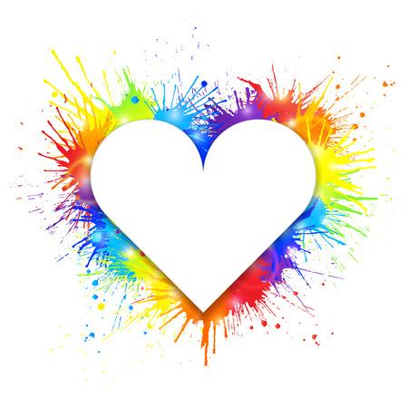 Heart shaped white banner on rainbow paint splashes background. Vector illustration. Illustration