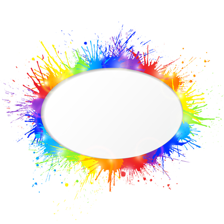Bright and colorful paint splashes frame with oval cutout for text  on white background. Vector illustration. Reklamní fotografie - 70226563