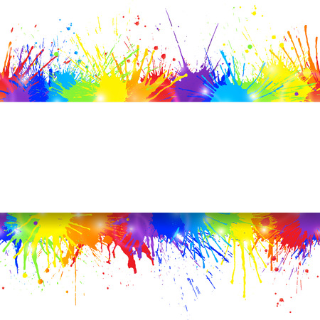 White Banner On Colorful Paint Splashes Background Vector