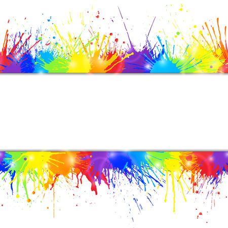 Bright seamless colorful background with rainbow colored paint splashes and space for text. Vector illustration.
