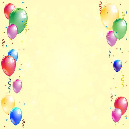 Coloridos globos con cintas y confeti sobre fondo dorado brillante. Ilustración vectorial
