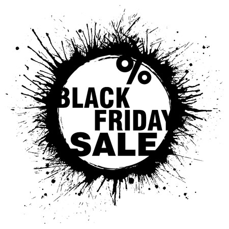 Black Friday Sale grunge banner with black paint splashes on white background. Vector illustration.
