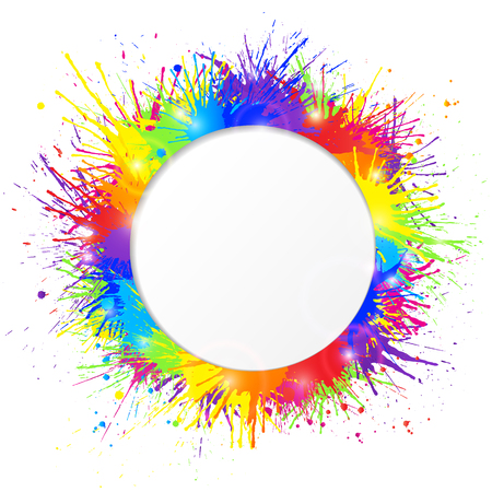 Bright and colorful paint splashes frame with round cutout for text on white background.