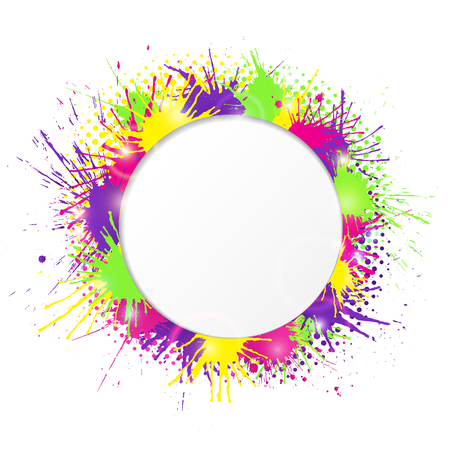 White Round Cutout Banner With Vivid And Colorful Paint Splashes