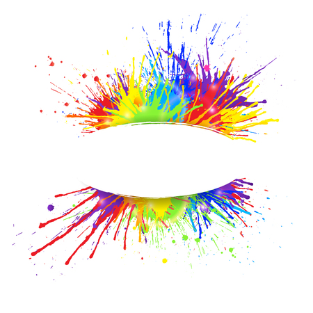 White banner with  vivid rainbow colored paint splashes.