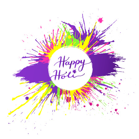Bright and colorful Happy Holi banner with vivid paint splashes on white background. Vector illustration.