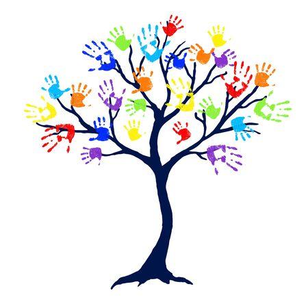 Abstracte boom met de heldere en kleurrijke drukken van de familiehand als bladeren op witte achtergrond. Vector illustratie. Stock Illustratie