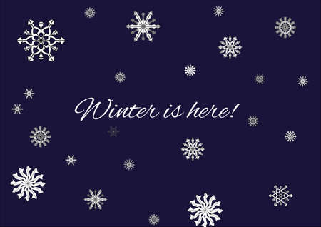 christmas greeting card: Winter is here banner. Illustration