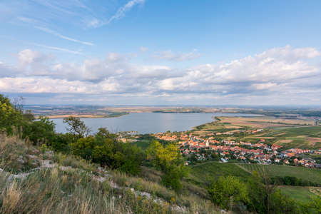 Landscape panorama of the lake, Palava Czech republic. Stock Photo