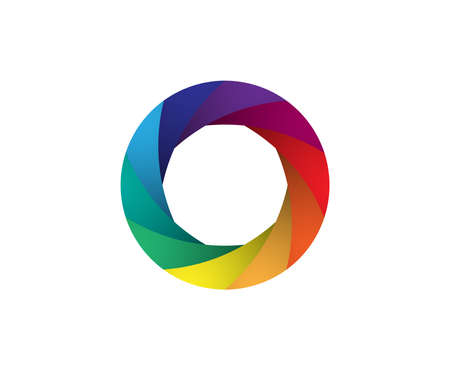 Rainbow camera shutter iris vector illustration. Colorful artwork on white background.