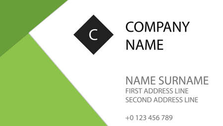 Simple business design business contact card. Green flat design, place for logo and text. EPS10 vector. Vectores