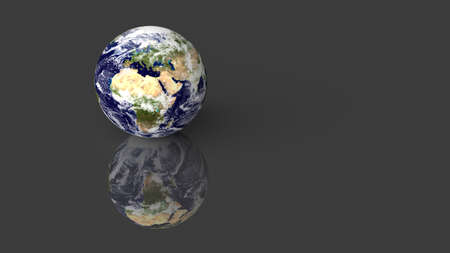 Planet Earth placed on grey glossy desk with reflection. 3D render. Reklamní fotografie