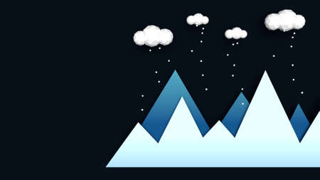 Mountains in winter abstract illustration. Blue gradient mountains with low poly clouds above and falling snow. Concept of winter landscape in night. Modern style usable as christmas greeting card. Фото со стока